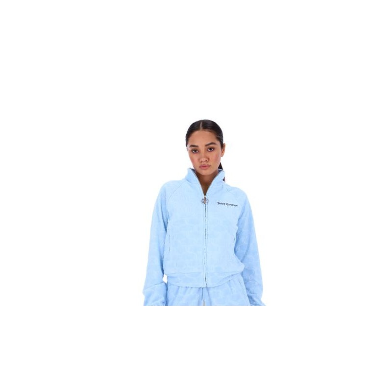 JUICY COUTURE - TANYA MONOGRAM JACQUARD TOWEL SWEATSHIRT - POWEDER BLUE