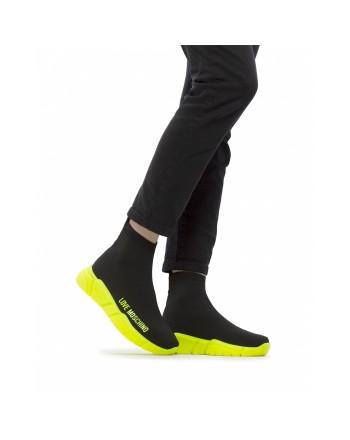 LOVE MOSCHINO - Sock Sneakers -Black/Yellow