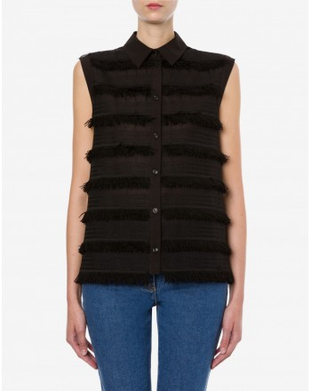 LOVE MOSCHINO - Black Fringes Embroidered Shirt - Black