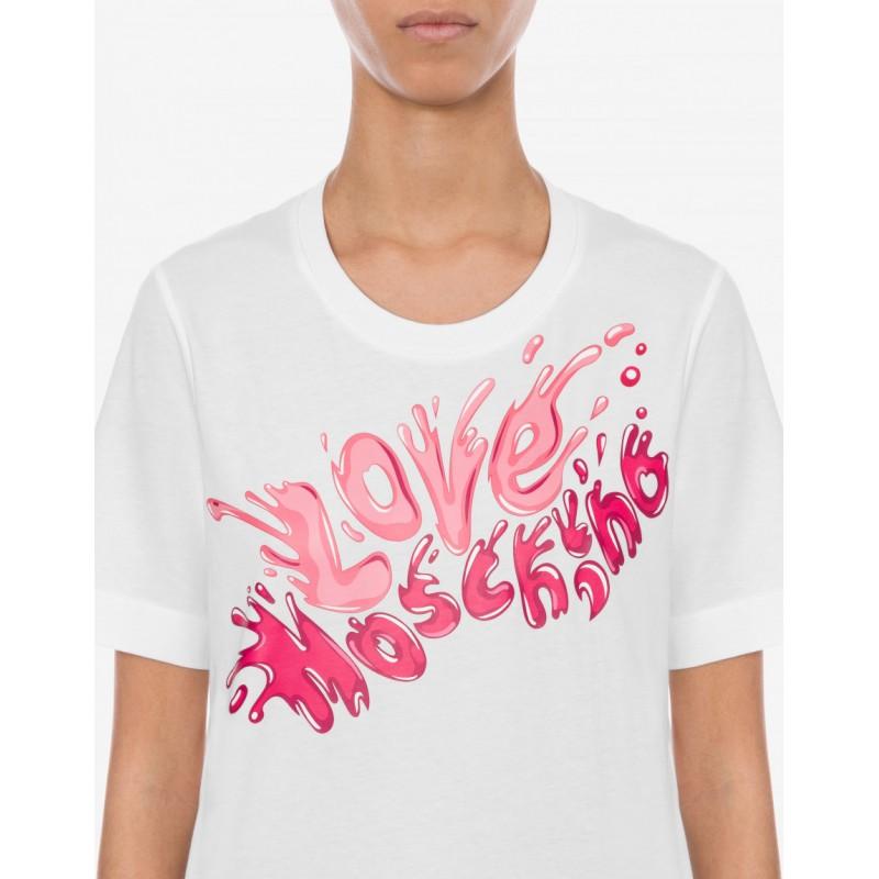 LOVE MOSCHINO - SPLASH LOGO Printed T-Shirt -White/Pink