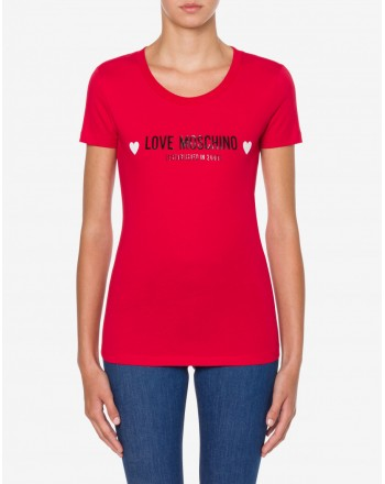 LOVE MOSCHINO - T-Shirt Logo Cuori - Rosso