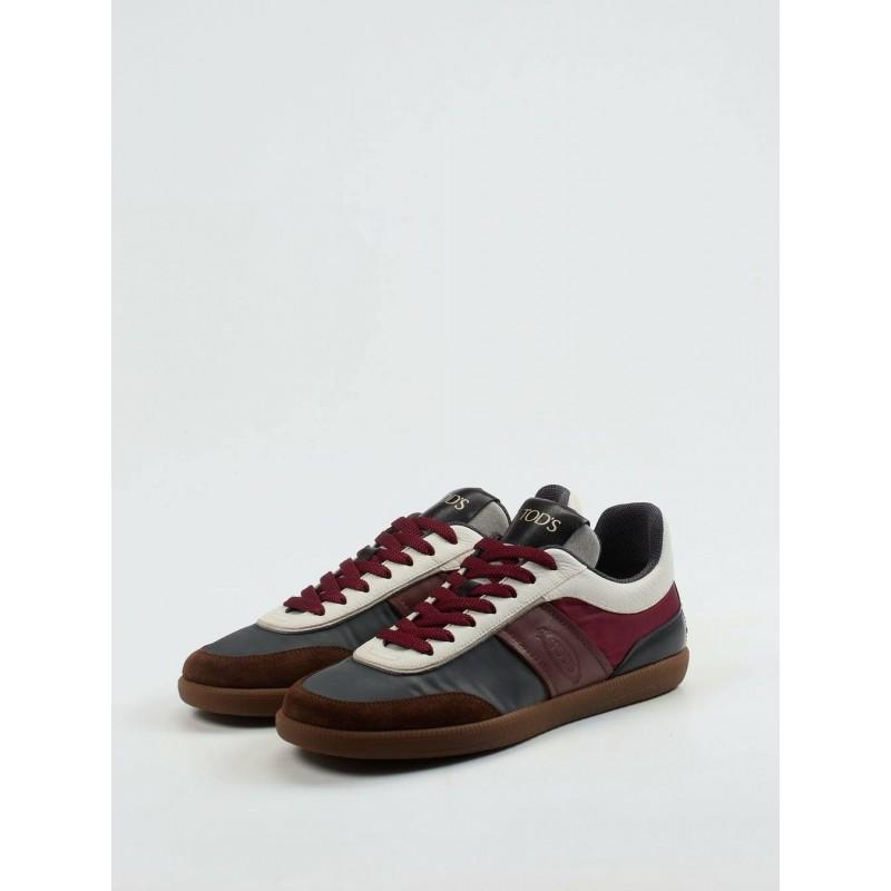 TOD'S  Sneakers in pelle scamosciata - Marrone/Bordeaux/Grigio