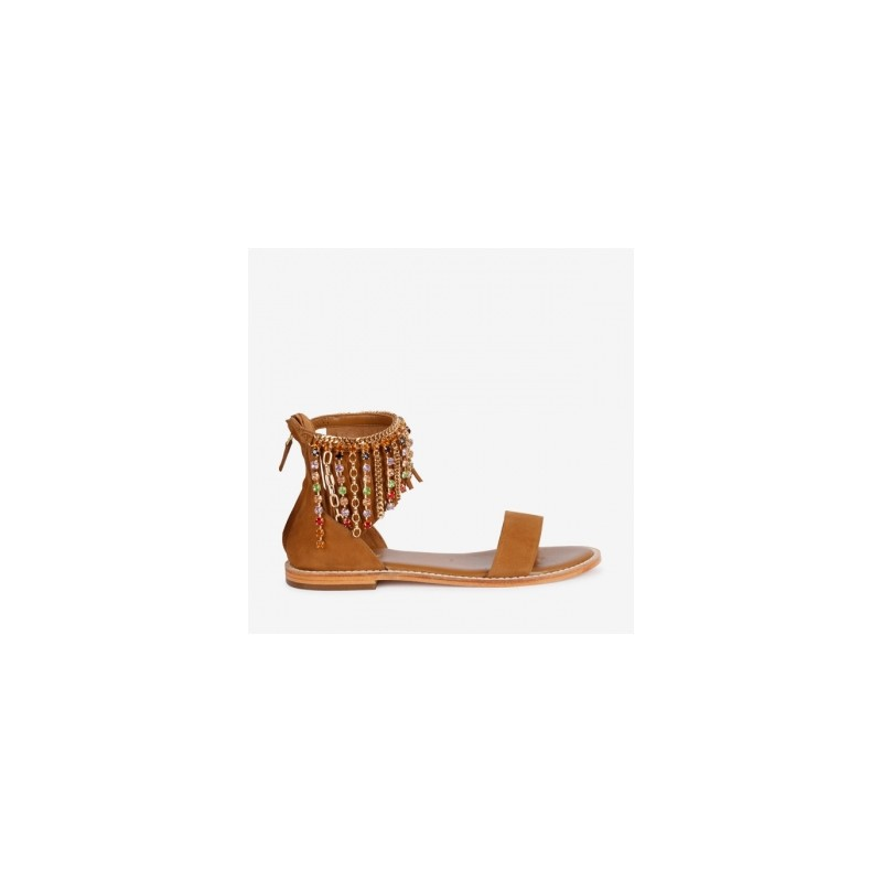 EMANUELLE VEE - Beads Anklet Sandal 411M401 - Multicolor