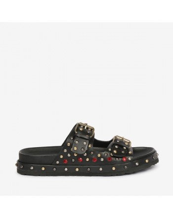 EMANUELLE VEE- Buckle and Studs Sabot 411M402 - Black