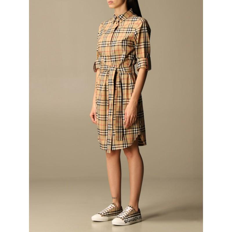 BURBERRY - Stretch cotton shirt dress - Archive Beige