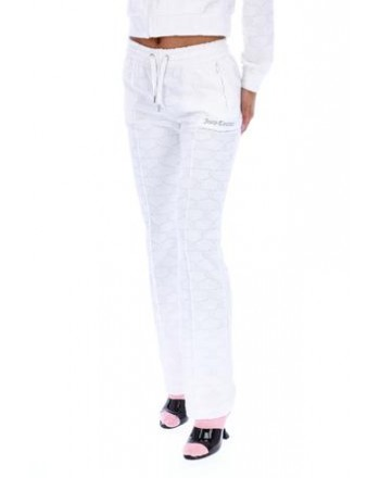 JUICY COUTURE - TOWEL MONOGRAM JACQUARD TERRY TOWELLING TRACKSUIT BOTTON - WHITE