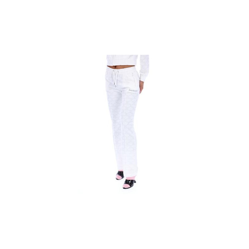 JUICY COUTURE - TINA  TOWEL PANTATUTA IN SPUGNA JACQUARD MONOGRAMMA - BIANCO