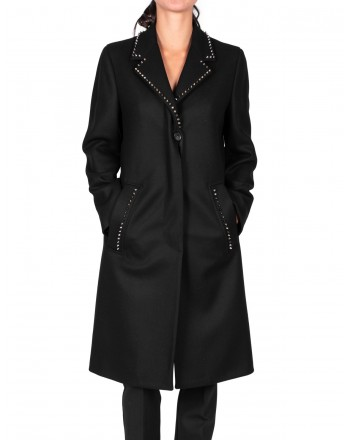 VERSACE COLLECTION - Cappotto  con borchie in lana e cashmere - Nero
