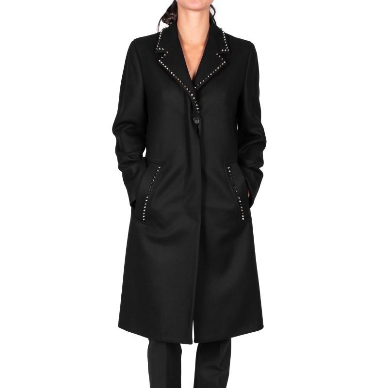 VERSACE COLLECTION - Cappotto  con borchie in lana e cashmere - Nero