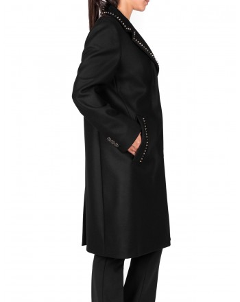 VERSACE COLLECTION - Wool and cashmere studded coat - Black