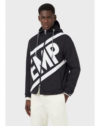 EMPORIO ARMANI - Opaque nylon jacket with maxi transversal logo - Blue