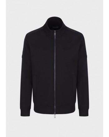 EMPORIO ARMANI - Full zip double jersey sweatshirt - Black -