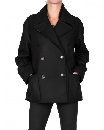 FAY - Double-breasted Cashmere coat - Black