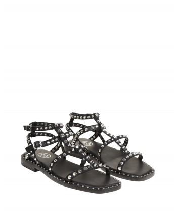 ASH - MAEVA Leather Sandal - Black/Silver