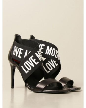 LOVE MOSCHINO - Sandalo con Logo a Nastro - Nero