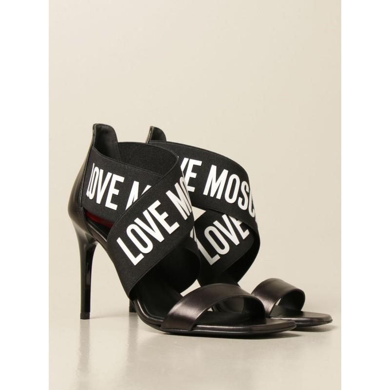 LOVE MOSCHINO - Logo Band Sandal- Black