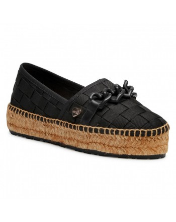 LOVE MOSCHINO - Espadrilles Shoes with Crossed Bands - Black
