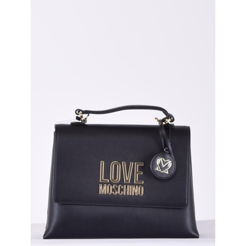 LOVE MOSCHINO - Gold Metal Logo handbag - Black -