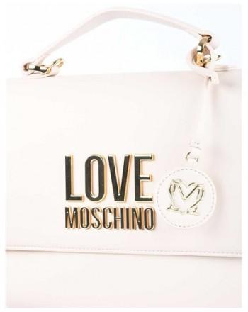 LOVE MOSCHINO - Borsa a mano Gold Metal Logo - Avorio -