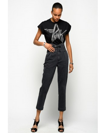 PINKO - Cotton T-Shirt ATTILA - Black