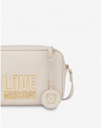 LOVE MOSCHINO - Camera Bag Gold Metal Logo - avorio -