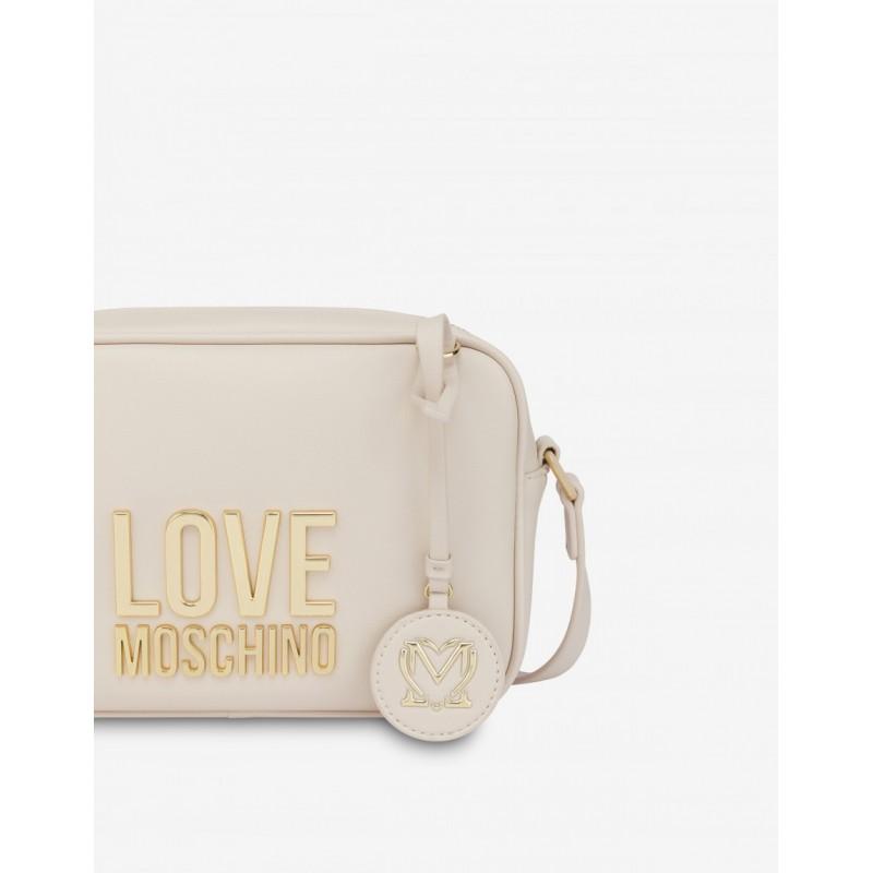 LOVE MOSCHINO - Camera Bag Gold Metal Logo - ivory