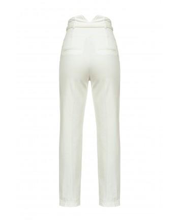 PINKO - High Waist Bustier Jeans- Pearl White