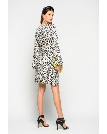 PINKO - Spotted FRAPPE Dress - WHITE/BLACK