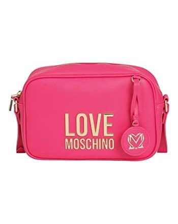 LOVE MOSCHINO - Camera Bag Gold Metal Logo - Fucsia