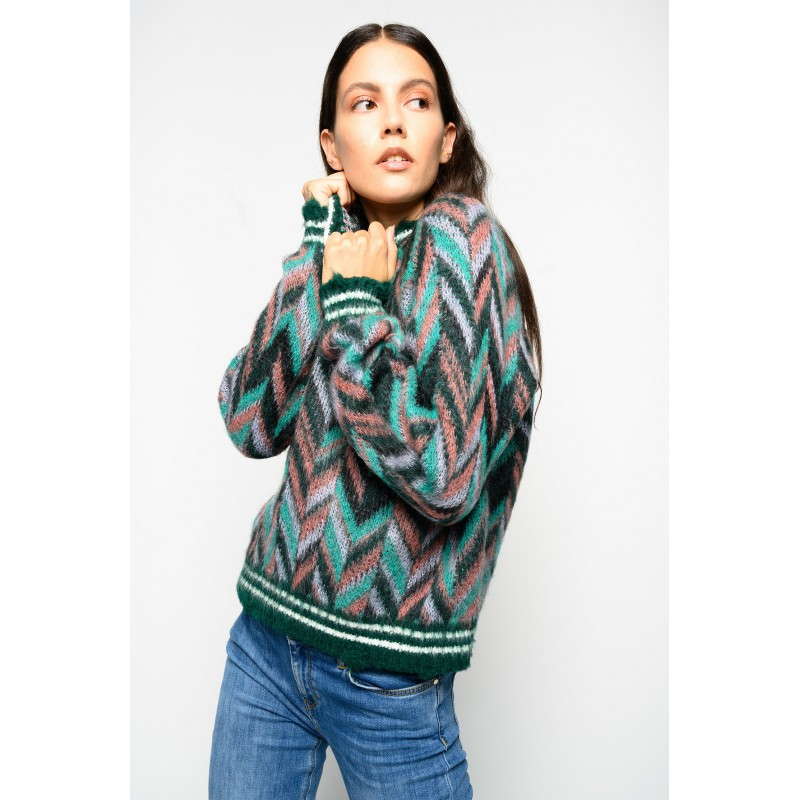 PINKO - Pullover Jaquard SOTTOSUOLO - VERDE/ROSA