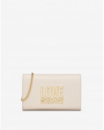 LOVE MOSCHINO - Pochettina Gold Metal Logo - Avorio -
