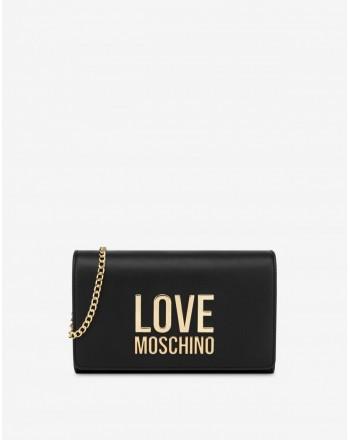 LOVE MOSCHINO - Gold Metal Logo Pochettina - Black -