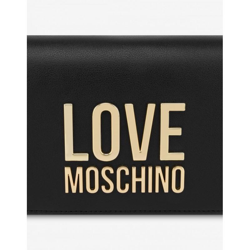LOVE MOSCHINO - Pochettina Gold Metal Logo - Nero -