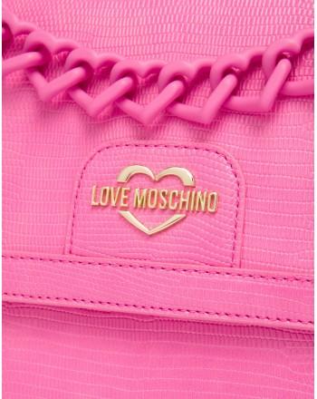 LOVE MOSCHINO - Heart Chain Shoulder Bag - Pink -