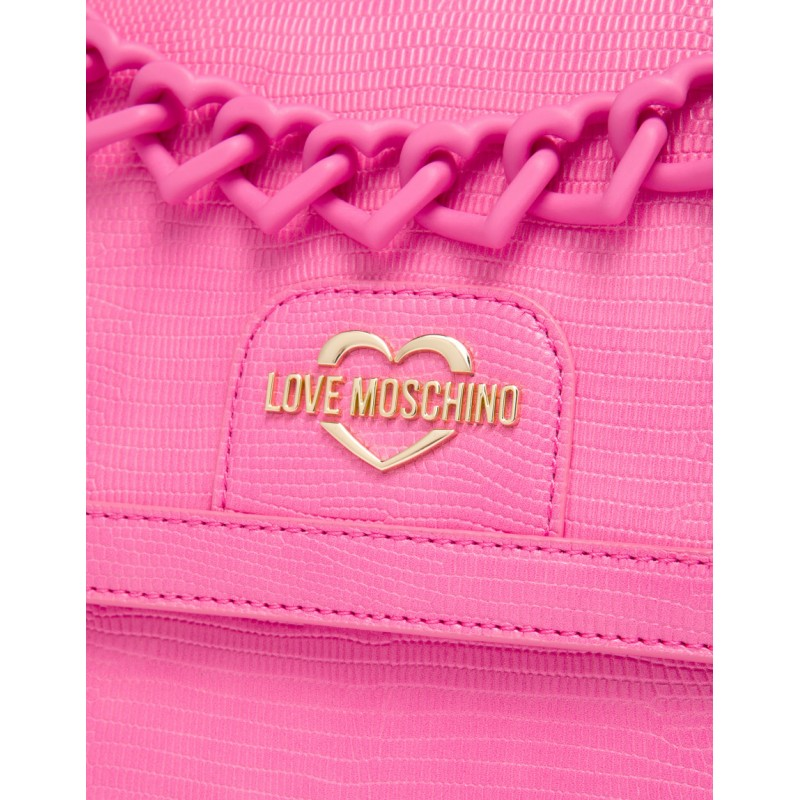 LOVE MOSCHINO - Borsa a Spalla Heart Chain - Rosa -