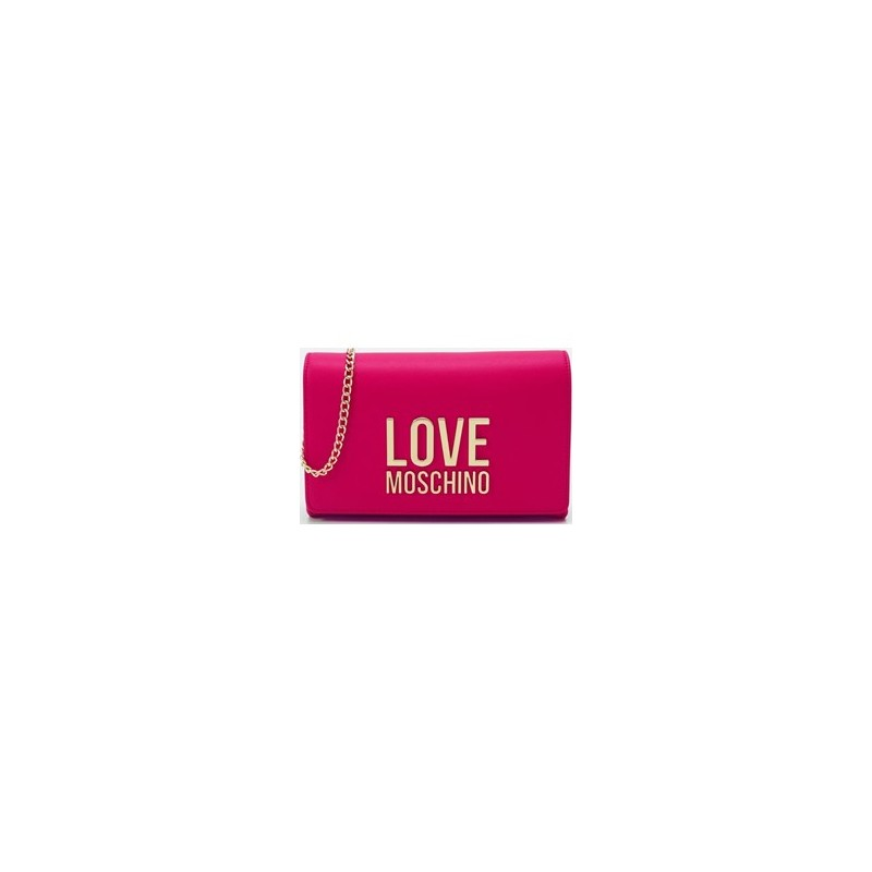 LOVE MOSCHINO - Pochettina Gold Metal Logo - Fucsia -