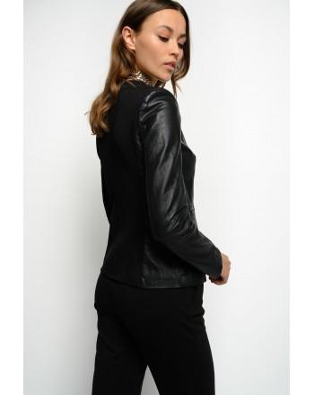 PINKO - Leather jacket BRADLEY - BLACK
