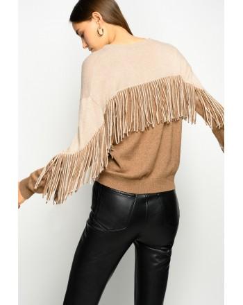 PINKO - Roundneck Fringe Knit COPERTO - Beige/Camel