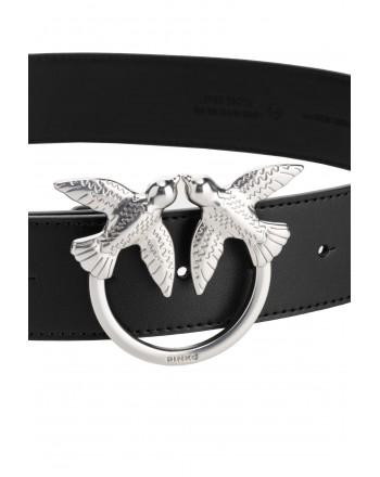 PINKO -  Leather Belt BERRY Simply 14 -Black