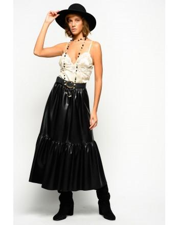 PINKO - Leather-Like Maxi Skirt ASTERISMO 1 - Black