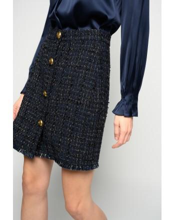 PINKO - Tweed Skirt PIERFRANCESCO 1 - Blue/Gold/Black