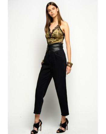PINKO- Leather-like Belt Jeans SHELBY FASHIONS - Black