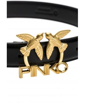 PINKO - Cintura LOVE BIRDS LOGO -IN PELLE- Nero -