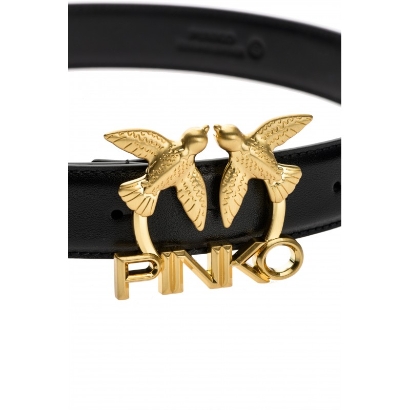 PINKO - LOVE BIRDS LOGO Leather Belt  -  Black  -