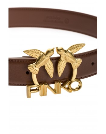 PINKO - LOVE BIRDS LOGO  Leather Belt - Brown -