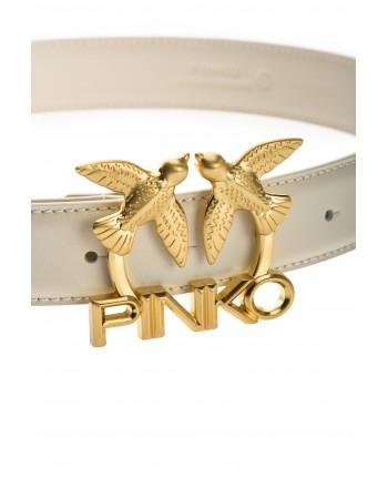 PINKO -  LOVE BIRDS LOGO Leather Belt - Ivory -