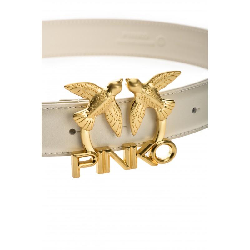 PINKO - Cintura LOVE BIRDS LOGO - IN PELLE -Avorio -