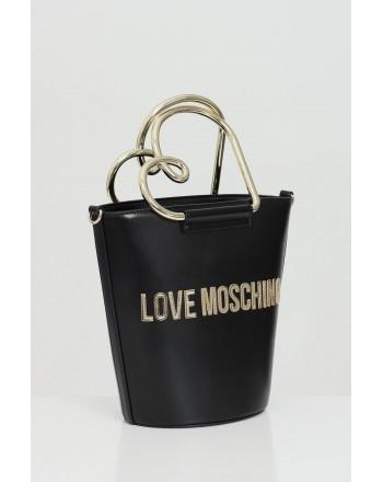 LOVE MOSCHINO - Borsa a secchiello con logo - NERO