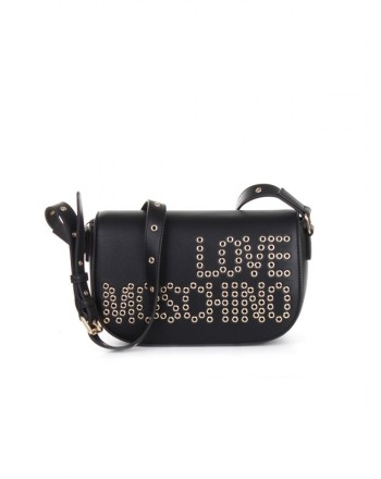 LOVE MOSCHINO - Shoulder bag with front studded logo - Black -