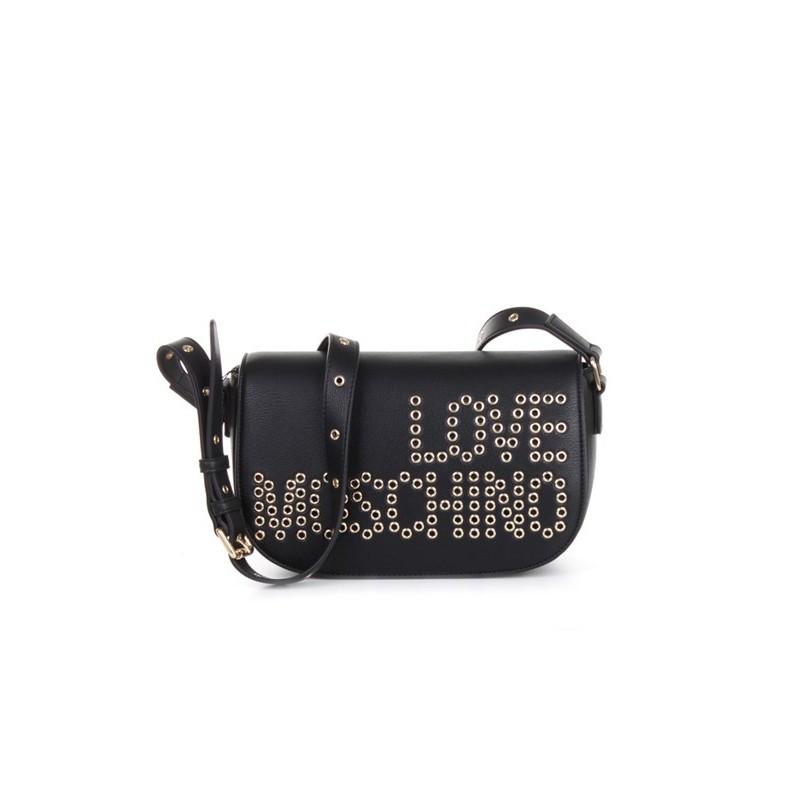 LOVE MOSCHINO - Borsa a tracolla con logo borchiato frontale - Nero -